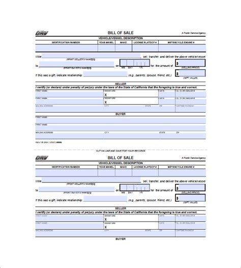 bill of sale dmv bill of sale form 10 free word excel pdf format