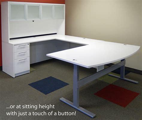 white u shaped desk electric lift u shaped white desk w hutch