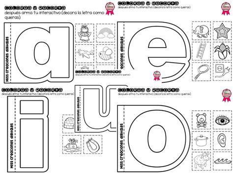 imagenes para colorear las vocales practicando las vocales colorea y recorta para preescolar