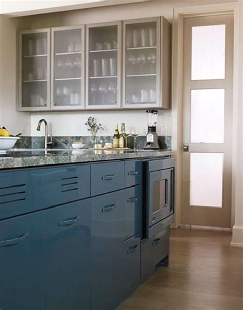 blue cabinets in kitchen look peacock blue kitchen cabinets the kitchn