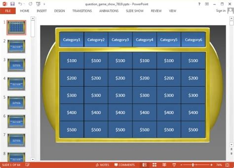Animated Jeopardy Powerpoint Templates Quiz Show Template