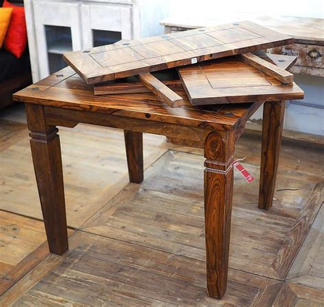 tavolo 90x90 allungabile legno tavolo indiano etnico allungabile in legno massello di noce