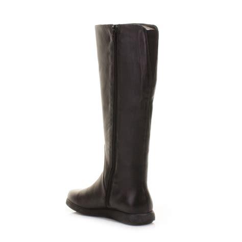 cer palerma black leather flat knee high