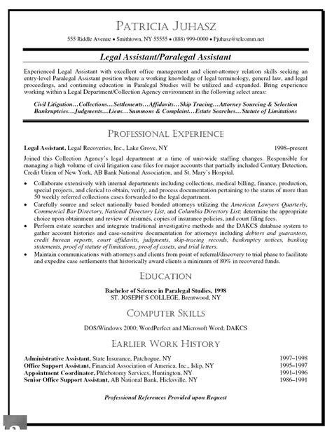 legal assistant resume objective sle images