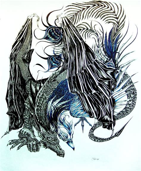 dragon and phoenix by laurelsky on deviantart