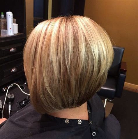 sexy bob haircut with chunky red highlites 21 hottest stacked bob hairstyles hairstyles weekly
