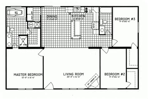 three bedroom mobile home 3 bedroom floor plan c 8206 hawks homes manufactured