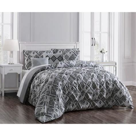 germaine  piece pinch pleat gray queen comforter set geacsfuqughgy  home depot