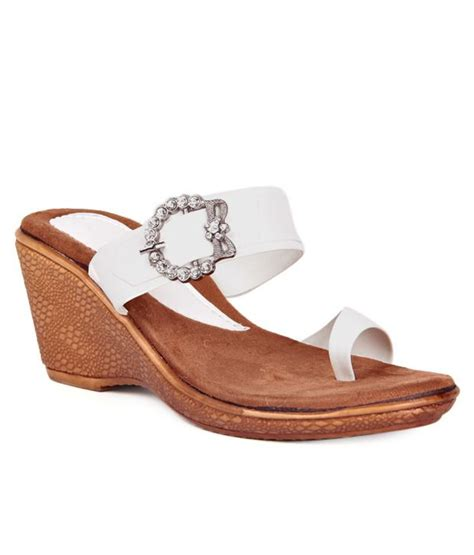 Wedges Lc505 Slip On White anand archies white wedges heeled slip on price in india buy anand archies white wedges heeled