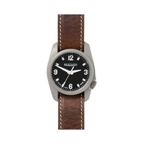 Swiss Army Doubleclock Lightbrown a 1t titanium field brown leather band bertucci