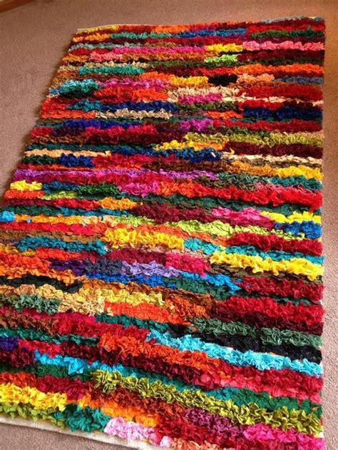ebay rag rug details about shaggy recycled rag rug loomed indian bright multi colours edge