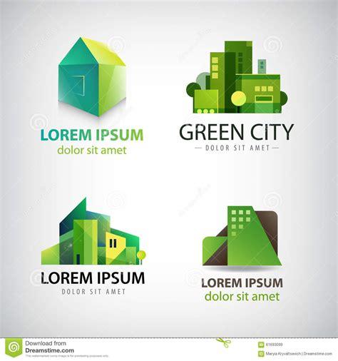 Vector Set Of Green Building Icons Logos Eco Stock Vector Image 61693099 Green Concept Logo Vectors