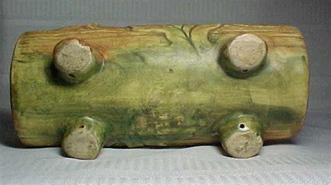 weller pottery woodcraft log window planter w handle for