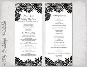 Sample Wedding Ceremony Programs Printable Wedding Program Template Black Amp White