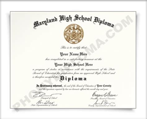 Maryland High School Diploma Template View All Of Our Phony Diploma Products From Diplomas And Transcscripts To Certificates