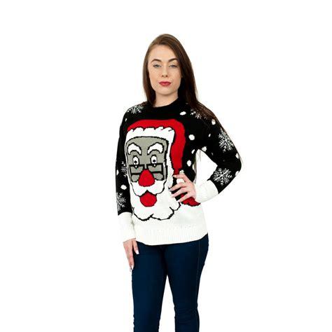black pattern christmas jumper c3105 bk ladies christmas jumper with santa pattern black