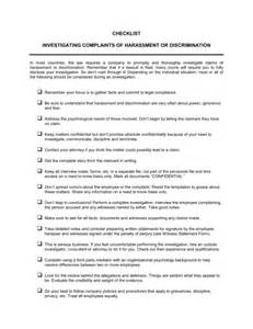 Sexual Harassment Policy Template by Checklist Investigating Complaints Of Harassment