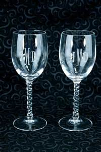 Engraved Barware Set Of Two Etched Initials Monogrammed Wine Glass Quot Jdm