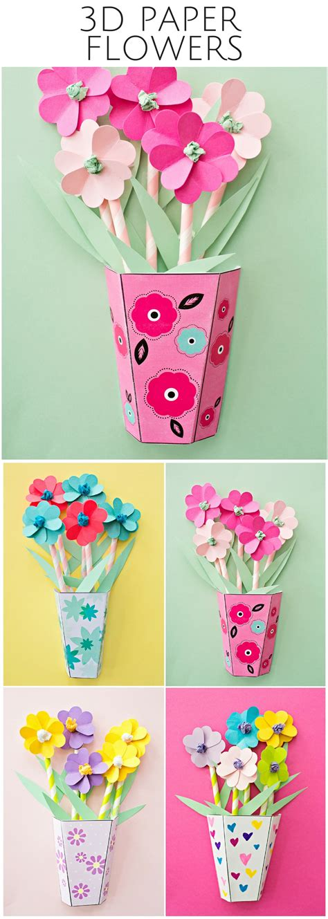 Paper Flower At Home - how to make 3d paper flower bouquets with and free
