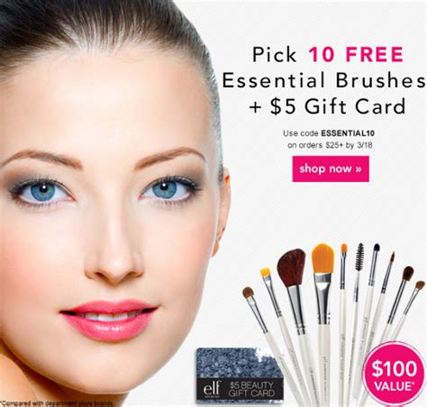 Elf Cosmetics Gift Card Code - elf cosmetics pick 10 free brushes 5 gift card with your 25 or more purchase