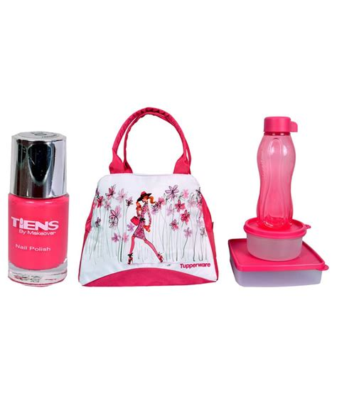 Tupperware New T For 2 Tupperware Pink Lunch Box With Nailpaint Buy At Best Price In India Snapdeal