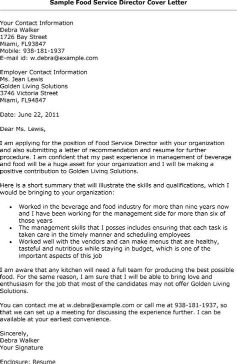Food Services Cover Letter by Cover Letter Sles For Food Servi