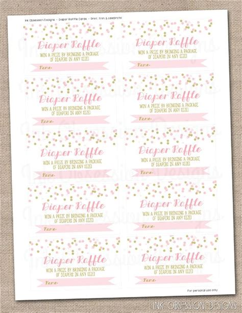free printable diaper raffle tickets girl pink gold confetti instant download diaper raffle ticket