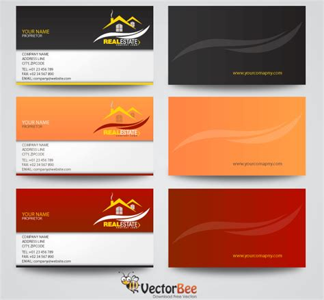 business card templates in vector real estate business card vector designs free