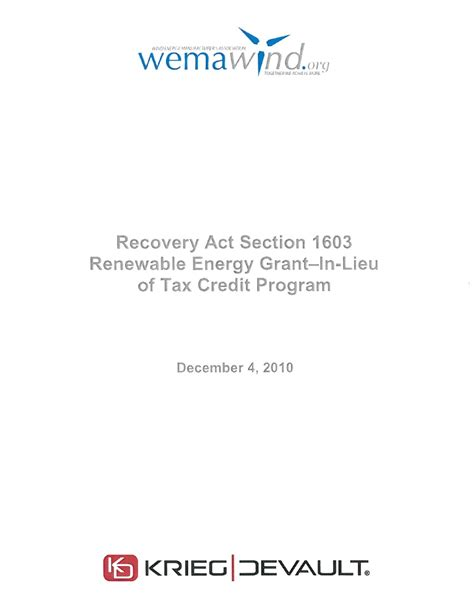 section 42 tax credit program recovery act section 1603 renewable energy grant in lieu