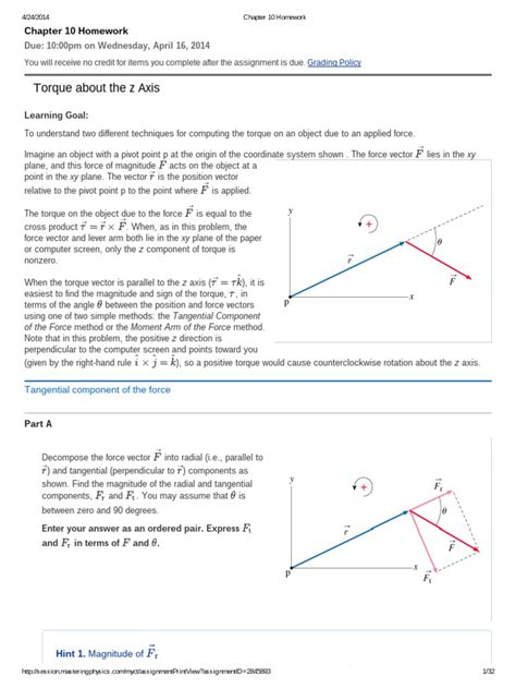 Does A M Central An Mba by Chapter 10 Homework Torque