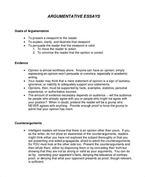 Exle Argument Essay by Argumentative Essay Template