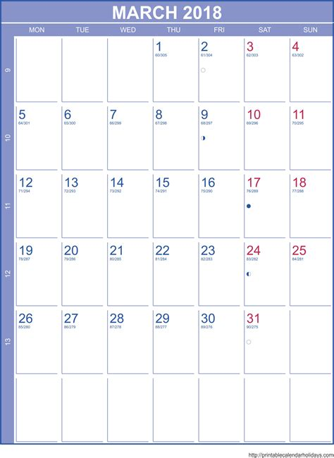 2018 monthly calendar template landscape free printable templates