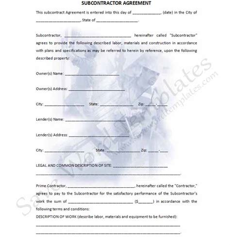 subcontracting contract template subcontractor contract template template business