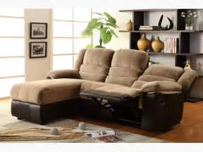 two tone sectional sofa with one reclining seat and chaise