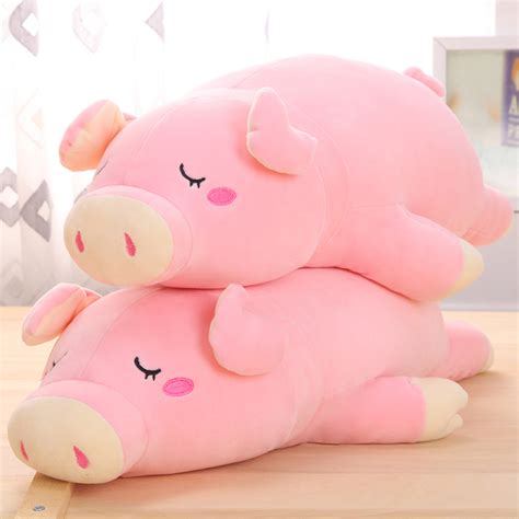 Kawai Pink 1pc new pink color 50cm 65cm kawaii soft stuffed animal pig baby plush toys sleeping plush