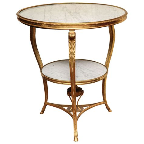 Louis Xvi Table by Neoclassical Louis Xvi Style Circular Marble And Bronze