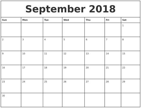 Printable Monthly Calendar September 2018 september 2018 printable monthly calendar