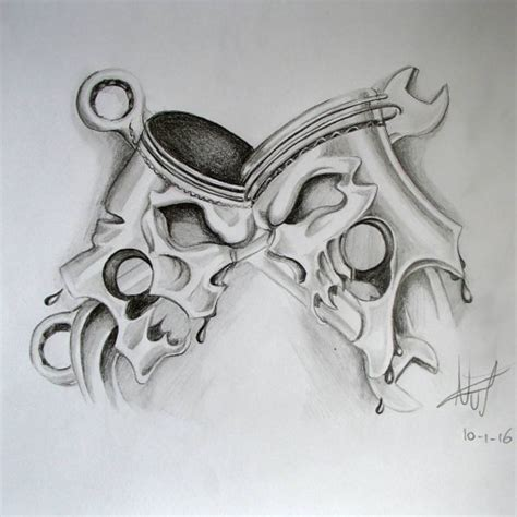 skull and piston tattoos skulls and pistons design best ideas gallery
