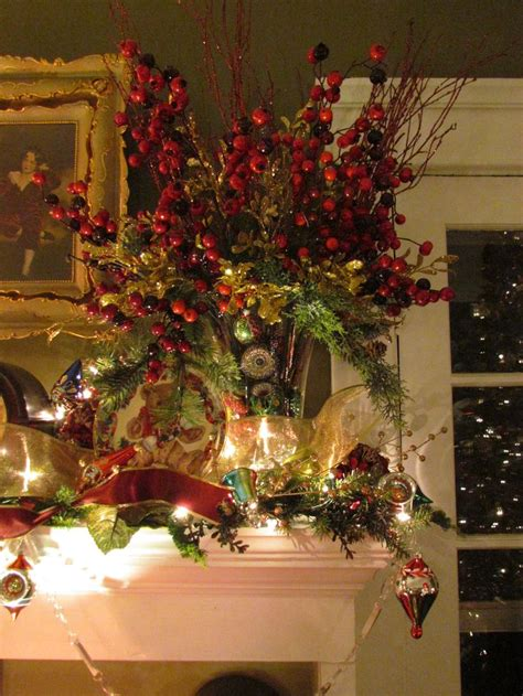 christmas burgundy gold and pearls woodcrest decorations the living room mantle pine greens burgundy silk hydrangea gold