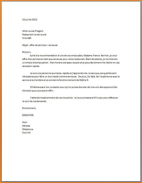 Exemple Lettre De Motivation En Anglais Restauration 8 lettre de motivation pour serveuse format lettre