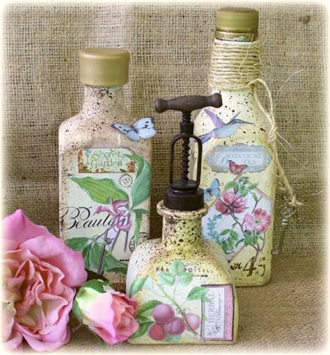 decoupage bottle tutorial botanical tea painted bottles by the amazing gabrielle