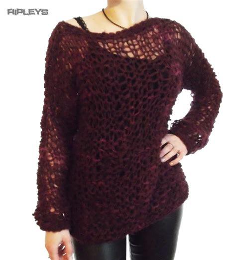 knitting pattern holey jumper ripleys clothing burgundy mohair fluffy holey top knit