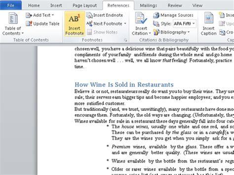 how to format a footnote in word 2010 how to add footnotes or endnotes to a word 2010 document