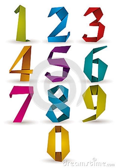 How To Make Origami Numbers - origami style numbers set stock vector image 42983339
