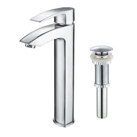 single bathroom faucet kraus visio single single handle vessel bathroom faucet with pop up drain in chrome fvs