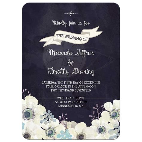 midnight blue wedding invitations wedding invitation watercolor midnight blue purple gray