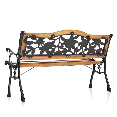 iron wood bench wood ikayaa 49 6 quot cast iron wood patio outdoor garden