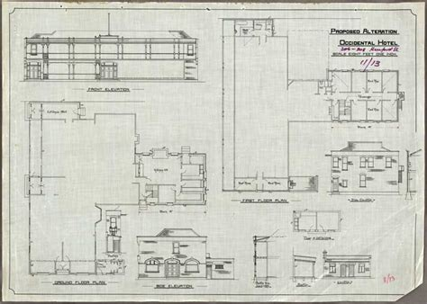 Proposed Alterations Occidental Hotel Plans Of Hotel Building Plans And Elevations