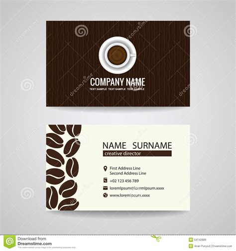 Coffee Bean Gift Card Free Drink - business card vector graphic design coffee cup and coffee beans stock vector image