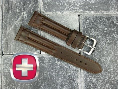 Swiss Army Leather Darkbrownbest Seller new 20mm wenger swiss brown leather army band 20 mm ebay